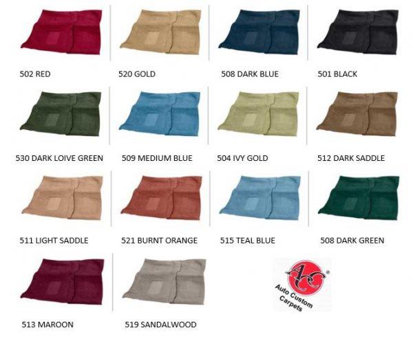 66 67 68 69 70 Dodge Coronet Carpet 80//20 Loop 2 or 4 Door Colors Made by ACC